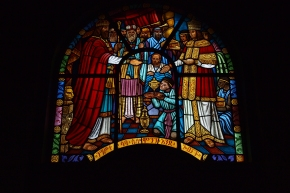 Beautiful stained glass windows depicting the life of Christ