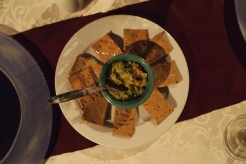 oat and bran crackers with guacamole